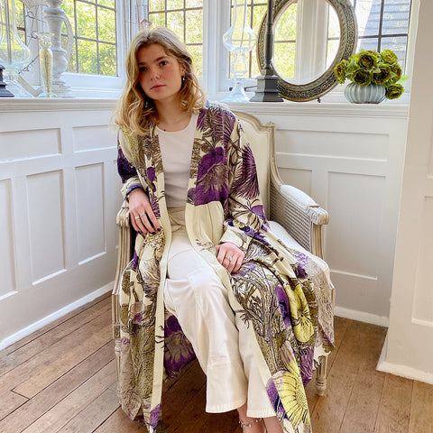 One Hundred Stars KEW Purple Thistle Duster Coat.
