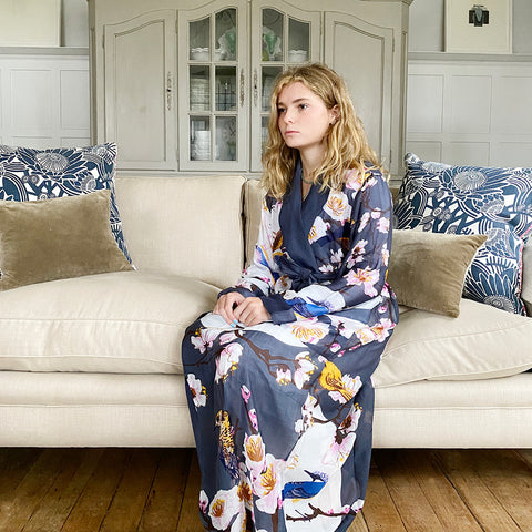 One Hundred Stars Blossoms & Birds Charcoal Dressing Gown.