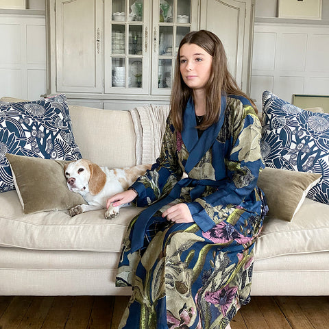 One Hundred Stars KEW Iris Blue Dressing Gown.