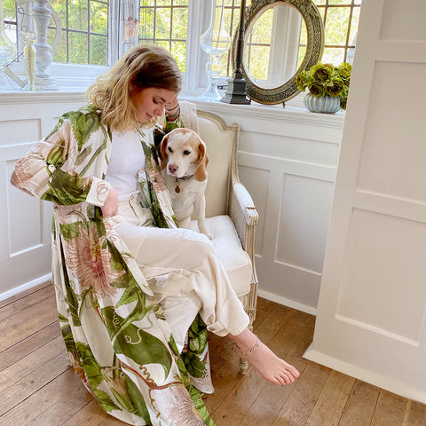 One Hundred Stars KEW Ivory Passion Flower Duster Coat.