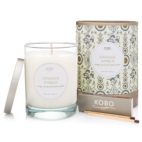 KOBO orange and amber candle