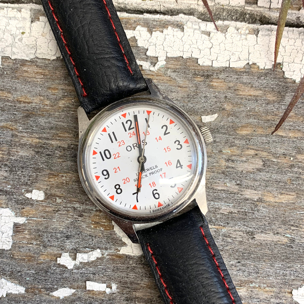 Vintage Oris Black and Red Watch