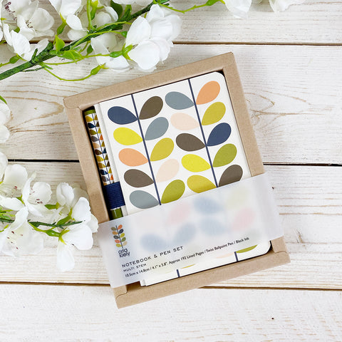 Orla Kiely Notebook & Pen Set, Multi Stem.