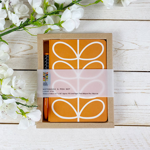Orla Kiely Notebook & Pen Set, Linear Stem.