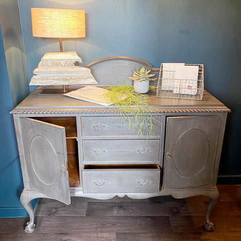 Vintage Painted French Cabinet with Drawers and Cupboards