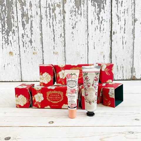 Panier des Sens Christmas Cracker, Rose Nectar Lip balm & Rose Essential Hand Creme.
