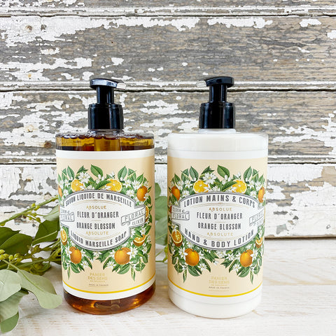 Panier des Sens Orange Blossom Liquid Soap & Hand & Body Lotion Duo.