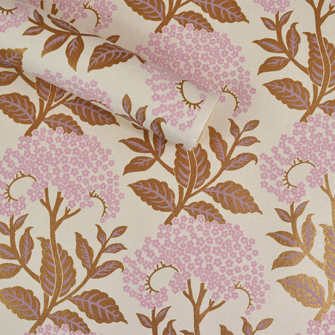 Wrapping Paper. Gold & Pink Flowers.