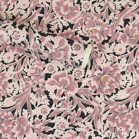 Wrapping Paper. Pink & Black Floral Pattern.