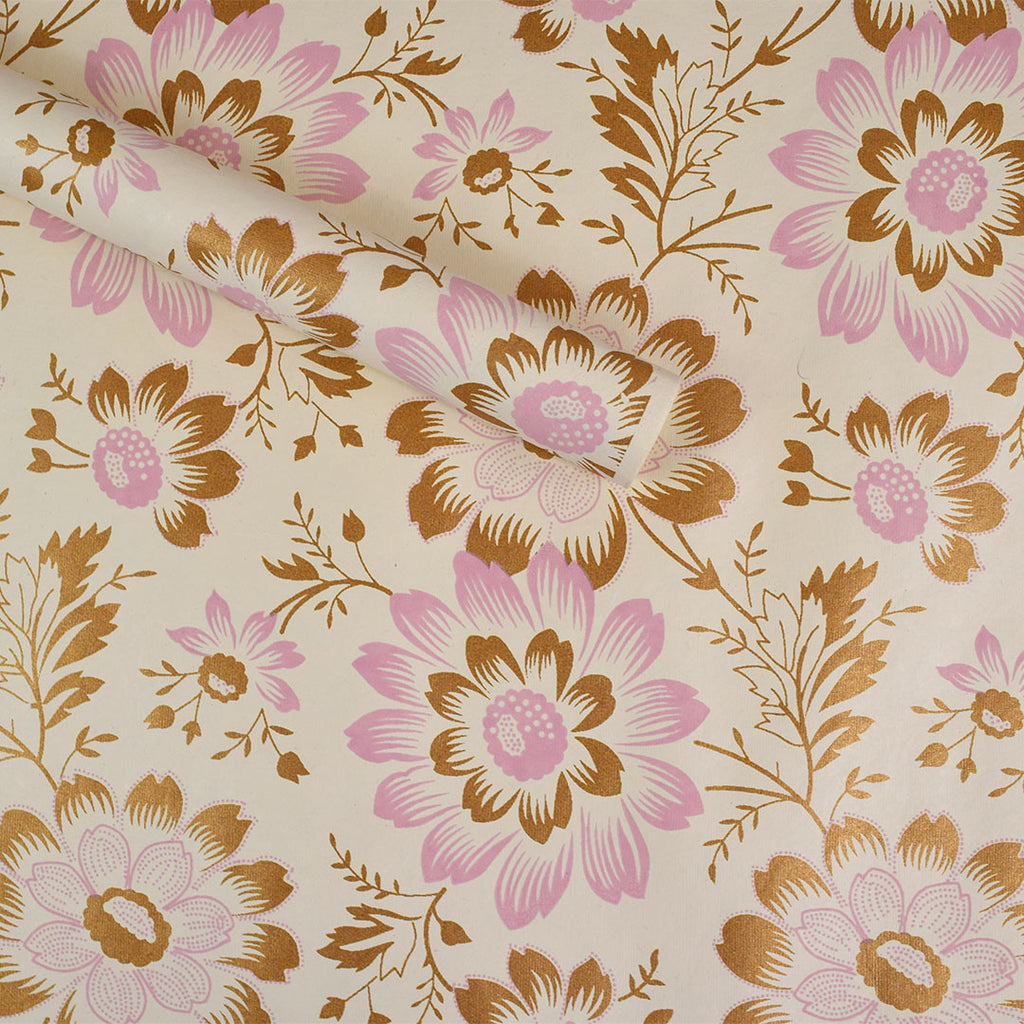 Wrapping Paper Pink Gold Flowers Curated Living