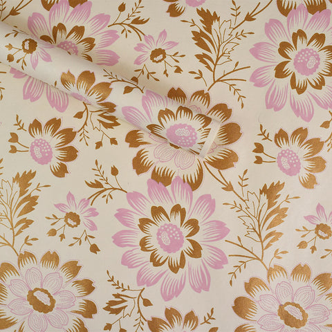 Wrapping Paper. Pink & Gold Flowers.