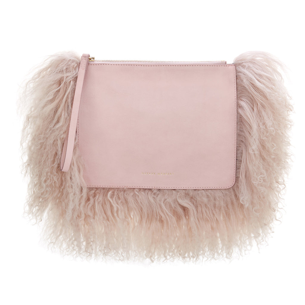 Italian Leather Cloud Bag. Pink.