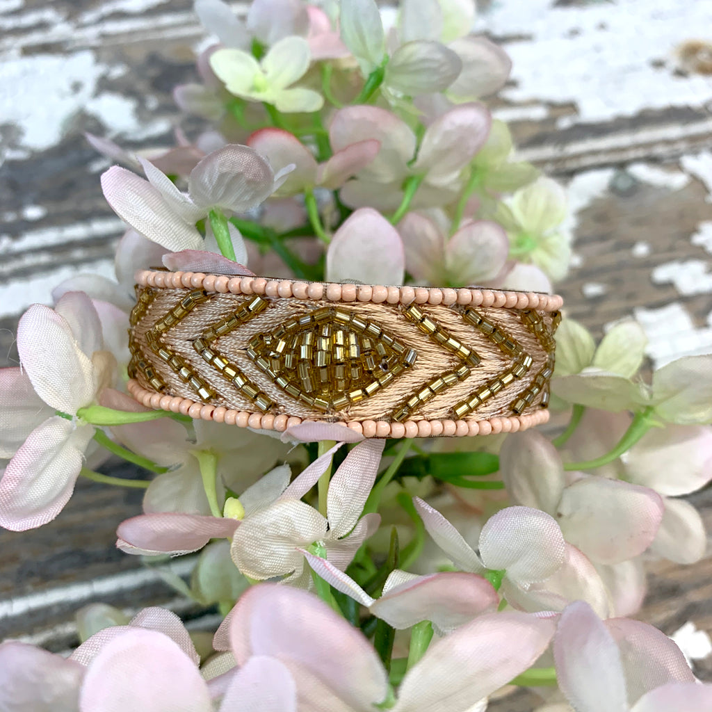 Bungalow Pink and Gold Diamond Cuff Bracelet.