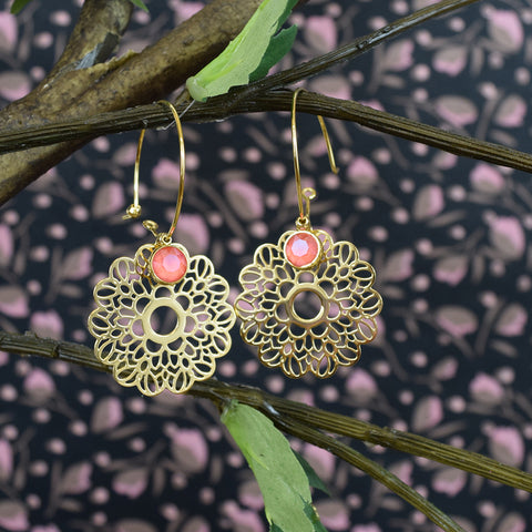 Pink Swarovski Crystal Gold Flower Earrings.