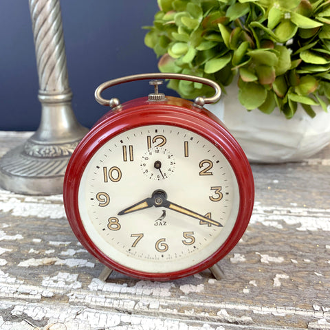 Vintage 1950s Red JAZ Alarm Clock.