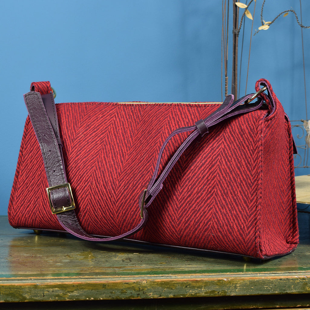Red and green fabric handbag