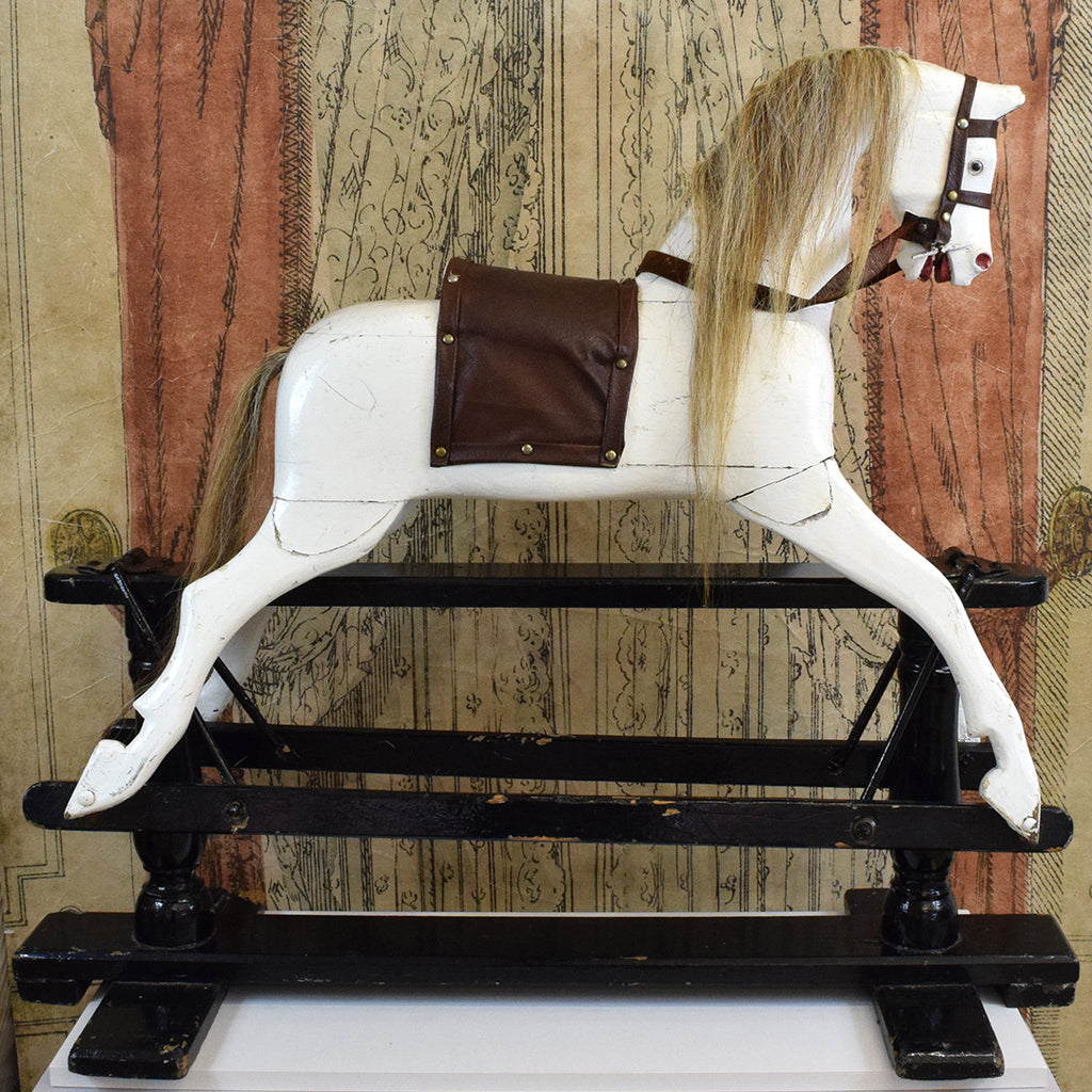 Vintage Rocking Horse Painted 1920 S Wooden Rocking Horse Curated Living