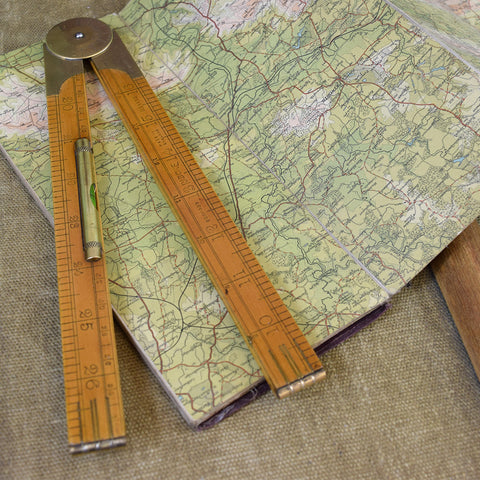 Vintage Wooden Ruler with Spirit Level.