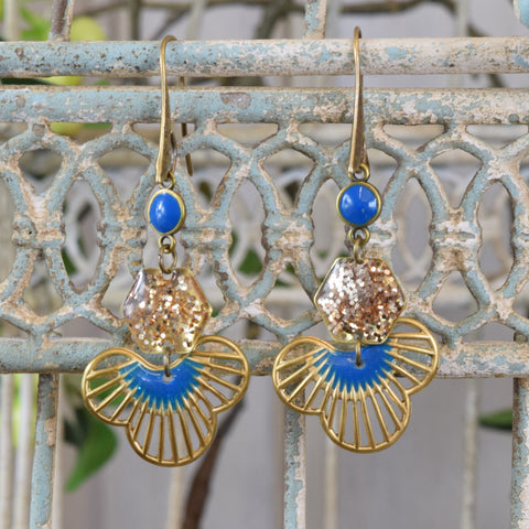Teal Blue and Gold Glitter Drop Earrings.