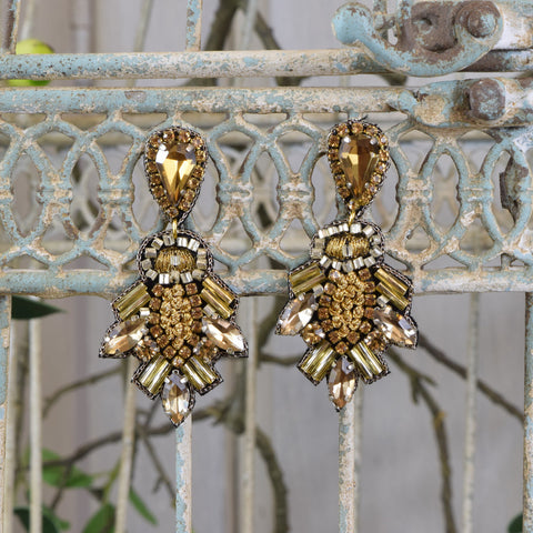 Honey Gold Embellished Drop Earrings.