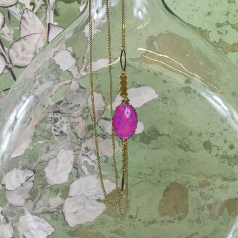 Pink and Purple Pendant Necklace.