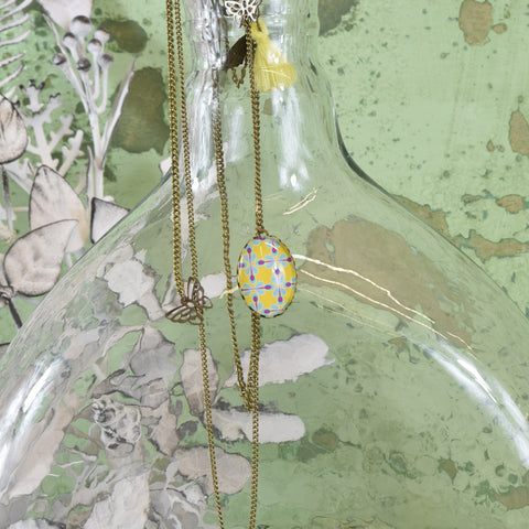 Yellow Double Row Pendant Necklace with Tassel.