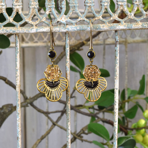Black and Gold Glitter Drop Earrings.