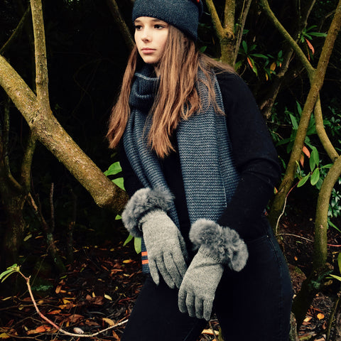 Samantha Holmes Alpaca Fur Trim Jersey Knit Gloves. Steel.