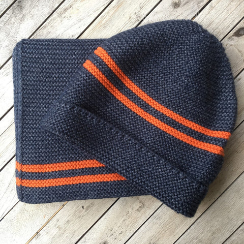 Samantha Holmes Blue & Neon Orange Stripe Alpaca Beanie Hat.