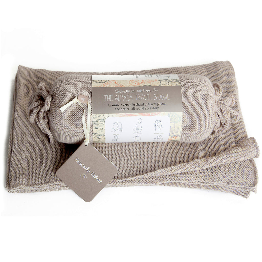Samantha Holmes Alpaca Travel Shawl Scarf and Pillow. Dove.