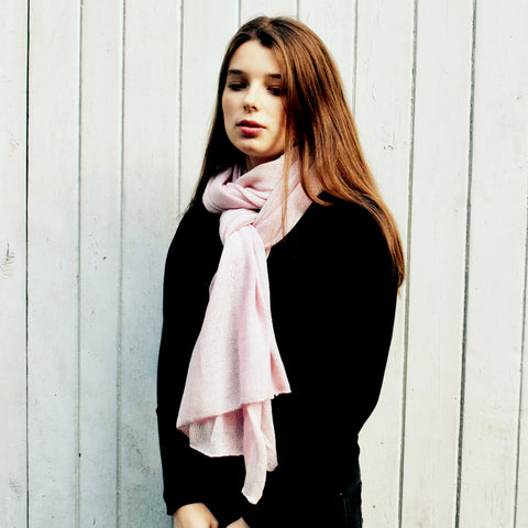 Samantha Holmes Alpaca Fur Travel Shawl Scarf and Pillow. Pale Pink.