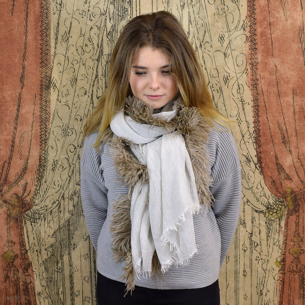 Feneun Modal Cashmere & Silk Scarf with Ostrich Feather Fringe. Sand.