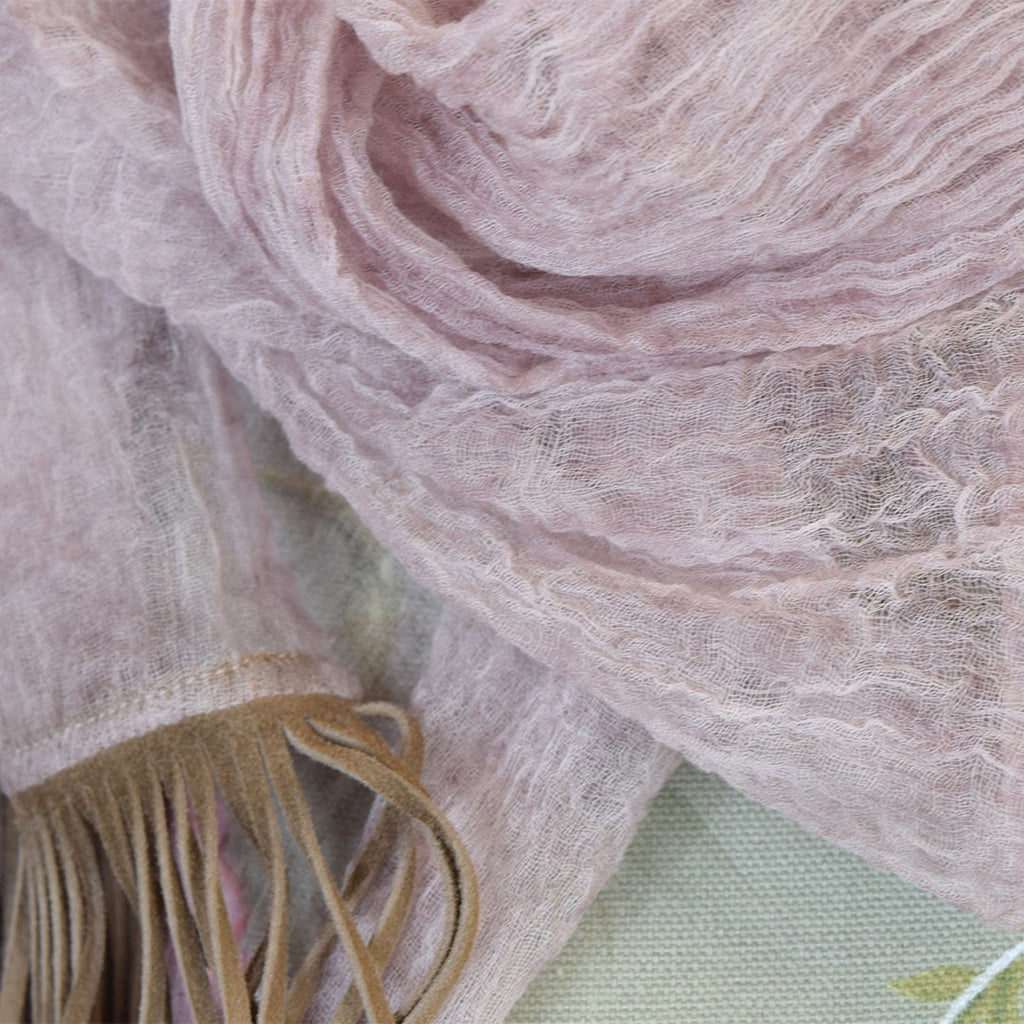 Feneun 100% Cashmere Scarf with Goat Suede Fringe. Rose Pink.