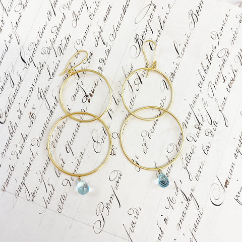 Pale Blue Topaz Double Hoop Earrings
