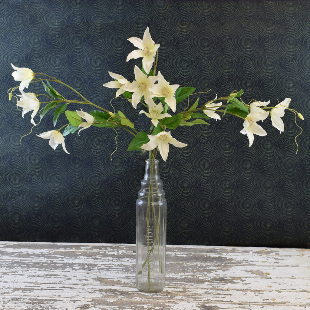 Silk-Ka Faux Flowers: White Clematis Spray
