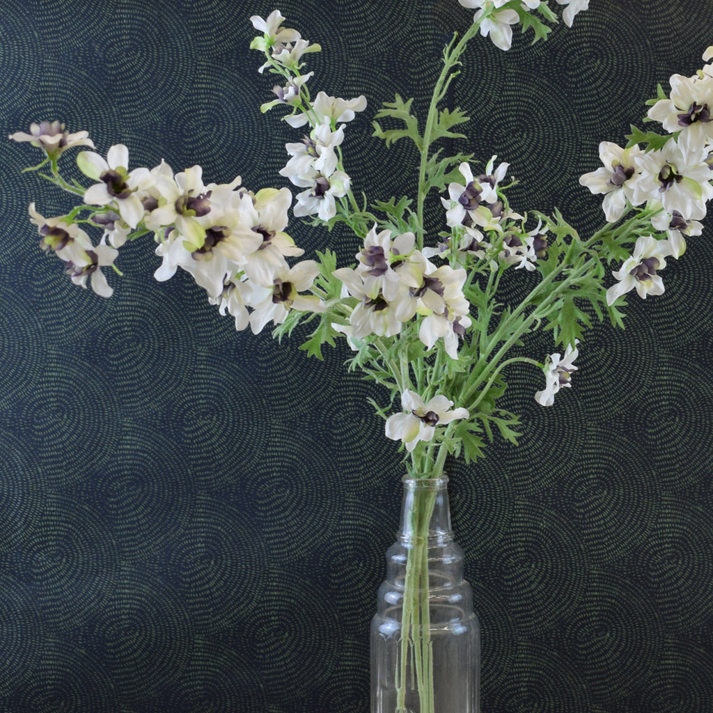 Silk-Ka Faux Flowers: Purple and White Delphinium Stem