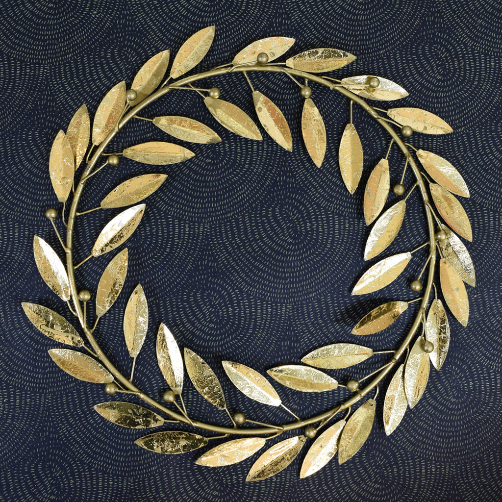 Gold Leaf and Berries Antique Effect Wreath.