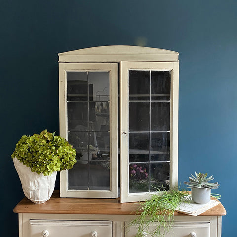Vintage French Display Cabinet With Glass Leaded Doors