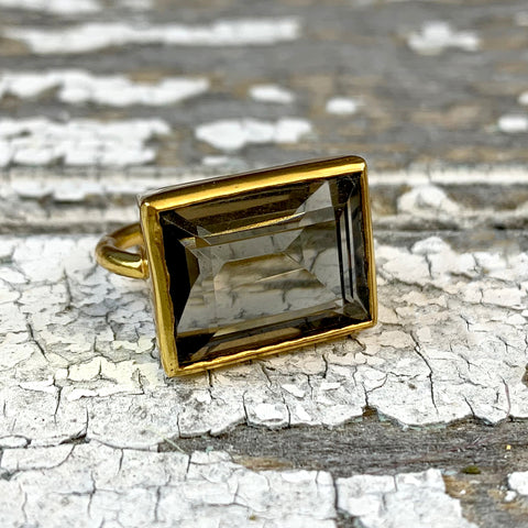 Cocktail Smokey Emerald Cut Ring.
