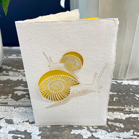 Handmade Eco Laser Cut Card, Snail.