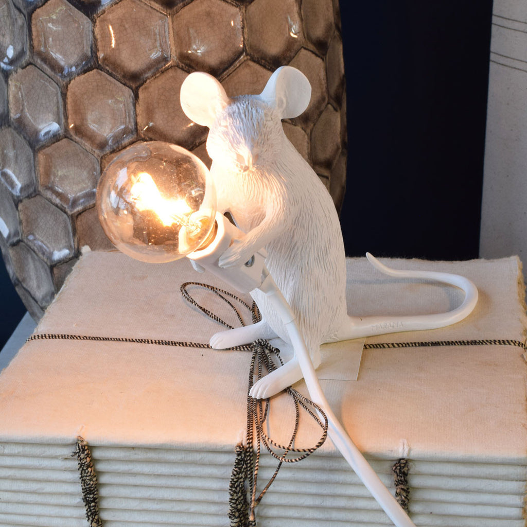 seletti mouse lamp sitting down available online at curated living. Black Bedroom Furniture Sets. Home Design Ideas
