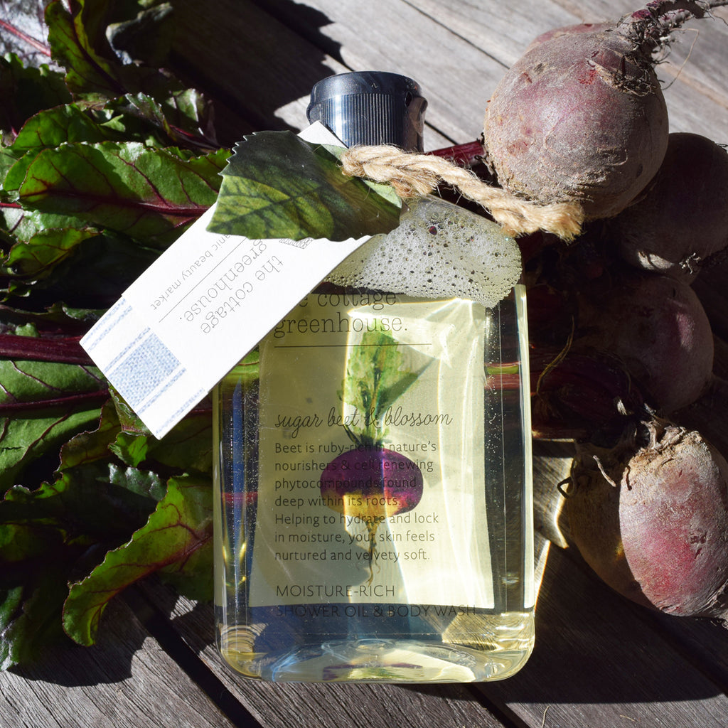 The Cottage Greenhouse Sugar Beet & Blossom Shower Oil & Body Wash.