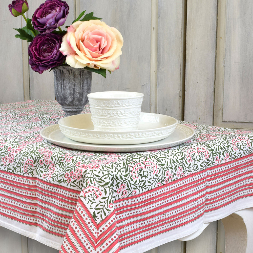 Morris Army Pink Floral Table Cloth. Medium.