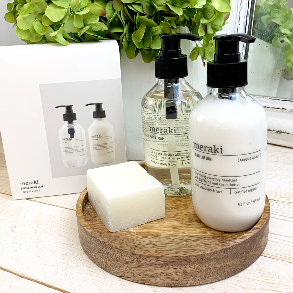 Meraki Tangled Woods Hand Soap & Lotion Set.