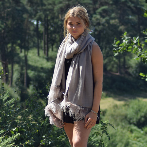 Feneun Cashmere and Silk Scarf with Ostrich Feather Fringe. Taupe.