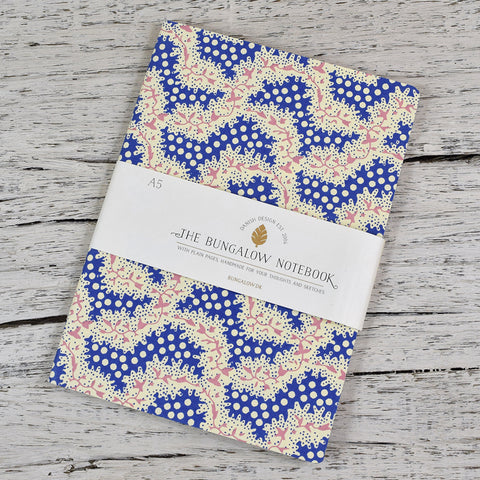 A5 Cotton Cover Notebook. Dotty Pink and Blue Pattern.
