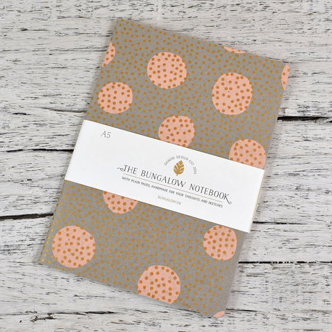 A5 Cotton Cover Notebook. Copper and Pink Dots.
