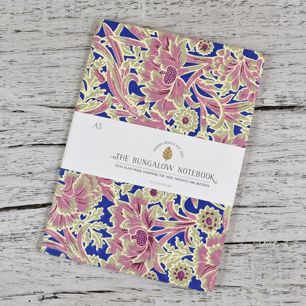 A5 Cotton Cover Notebook. Pink Flowers.