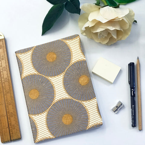 The Bungalow Chavara Gold A5 Notebook. Grey and Gold Circles.