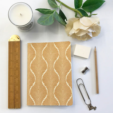 The Bungalow Chavara Gold A5 Notebook. Gold Waves.